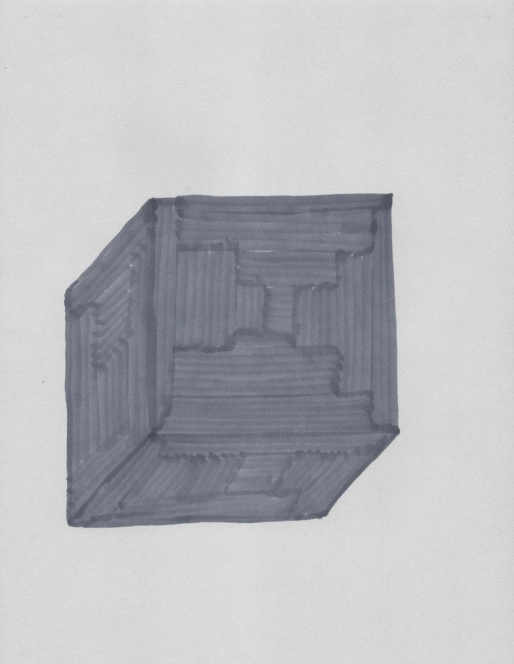 Terre des hommes  , 2017, tinta sobre papel, 28 x 22 cm.