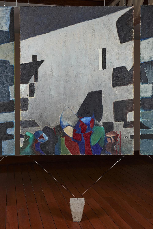 Una nueva era, panel O38L  , 2018, óleo sobre yute, 183 x 140 cm.