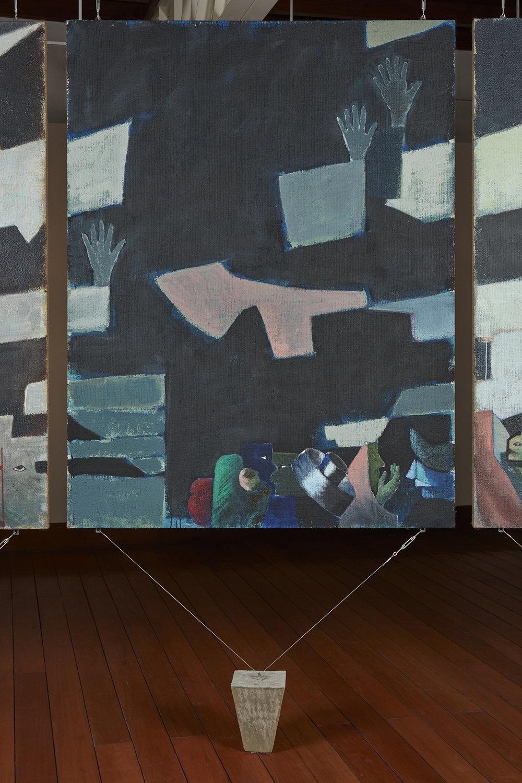 Una nueva era, panel O38s  , 2018, óleo sobre yute, 183 x 140 cm.