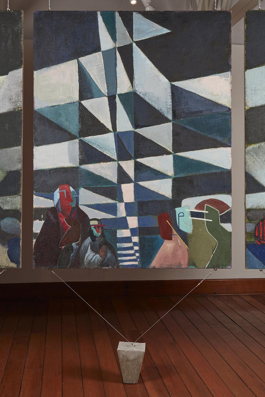Una nueva era, panel O38j  , 2018, óleo sobre yute, 183 x 140 cm.