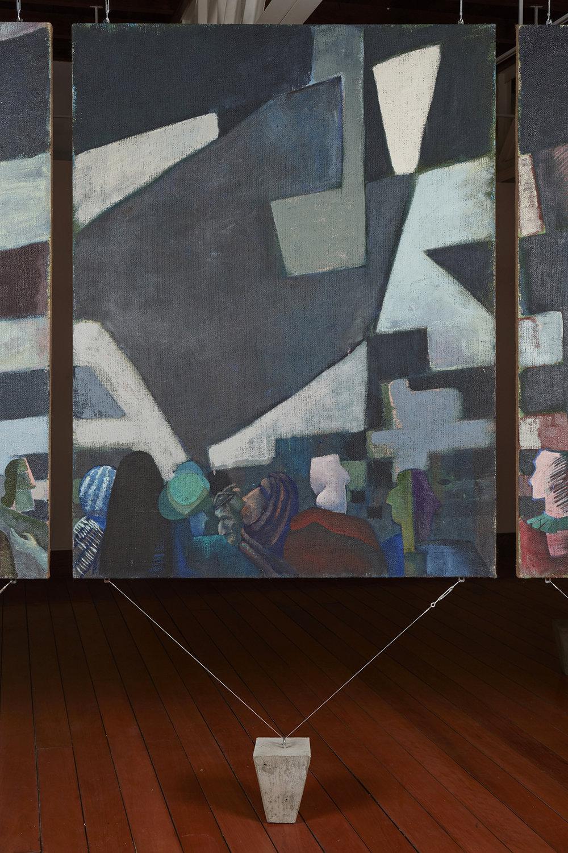 Una nueva era, panel O38p  , 2018, óleo sobre yute, 183 x 140 cm.
