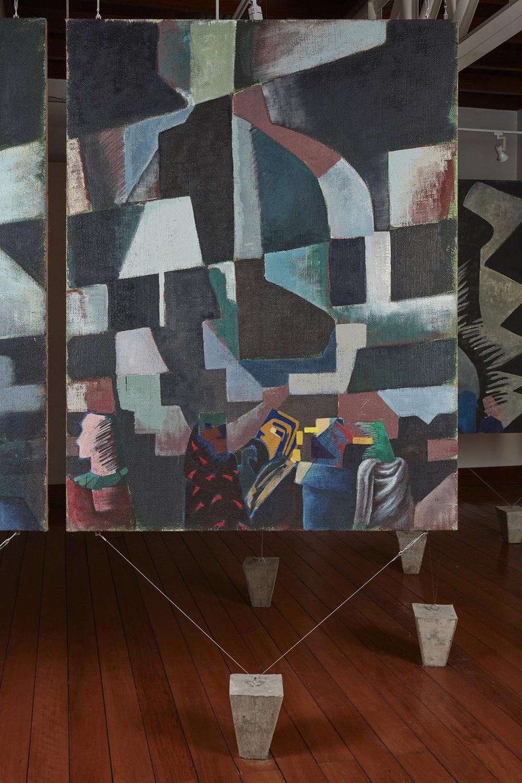 Una nueva era, panel O38m  , 2018, óleo sobre yute, 183 x 140 cm.
