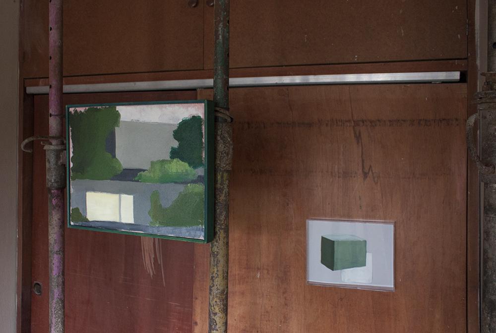 Vivienda privada 1974 , 2017, óleo sobre tela, 33 x 43 cm.   Terre des hommes , 2017, óleo sobre papel, 22 x 28 cm.