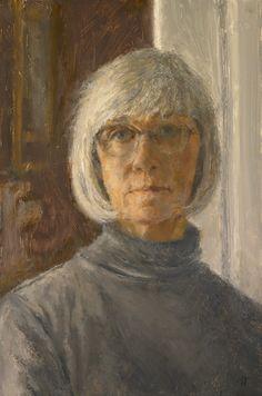 "Catherine Prescott, Self Portrait, Oil on panel, 9"" x 6""."