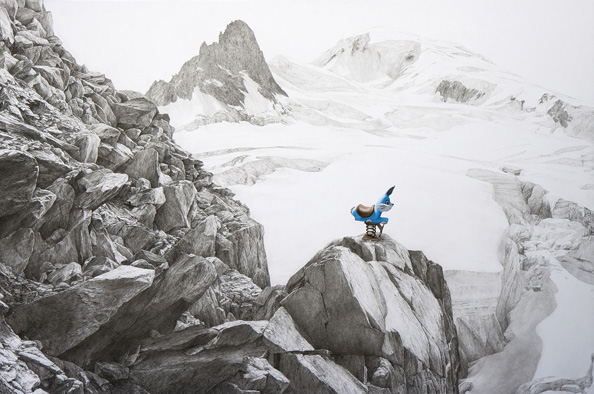 "Phillip Adams, The Hunt, 2013, Charcoal, graphite, and oil on panel, 36"" x 24""."