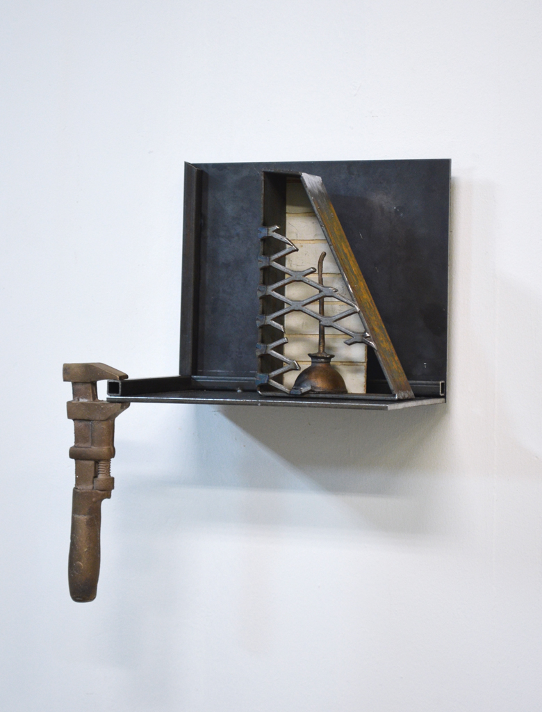 "Phillip Scarpone, Fragments, 2014, steel, silicon bronze, and wood, 19"" x 12"" x 7"""