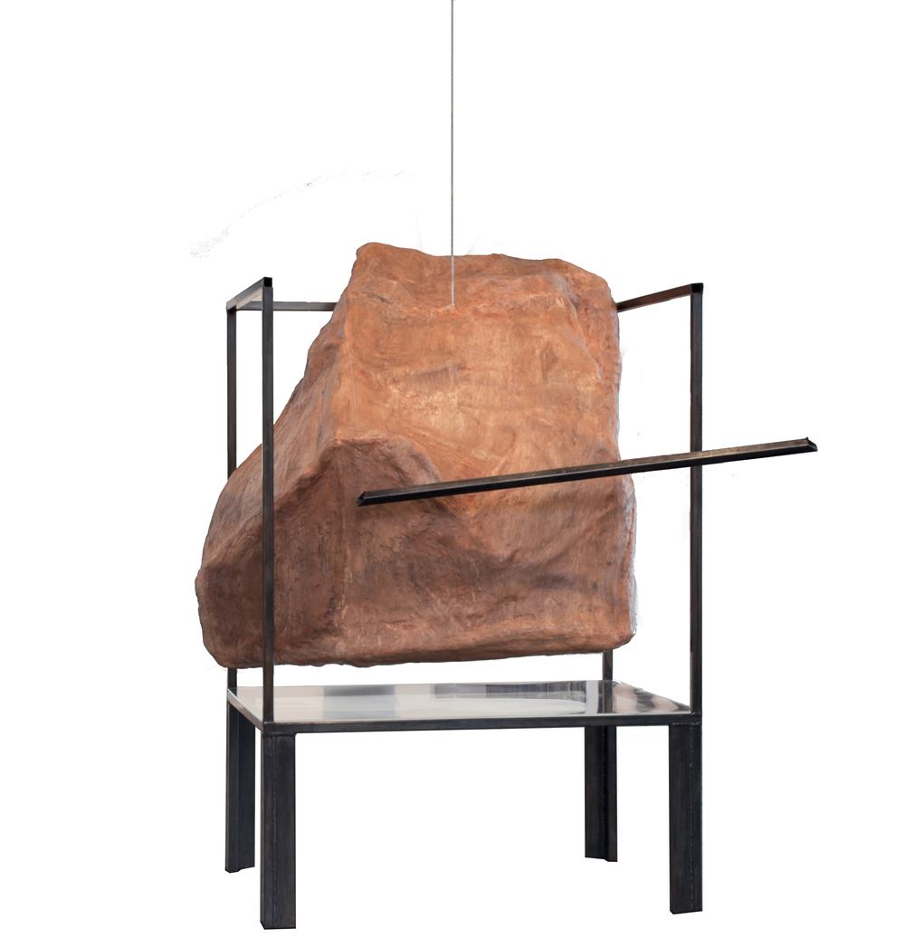 "Rock and Vitrine in Conflict,  2015, Plaster, pastel, graphite, and steel, 49"" x 45"" x 66""."