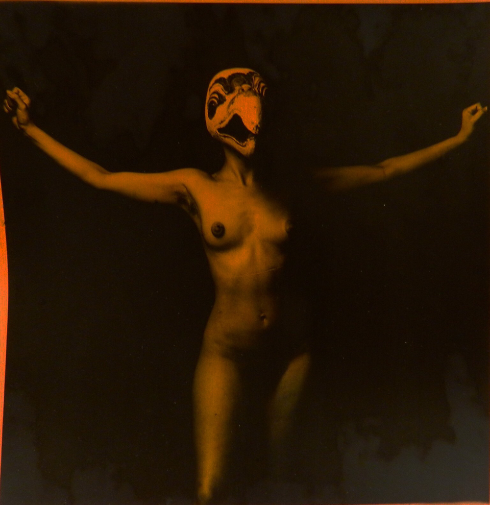 "Victor Vazquez,  Lady Bird III , 1996, Hand painted black and white photograph, 10"" x 10"""