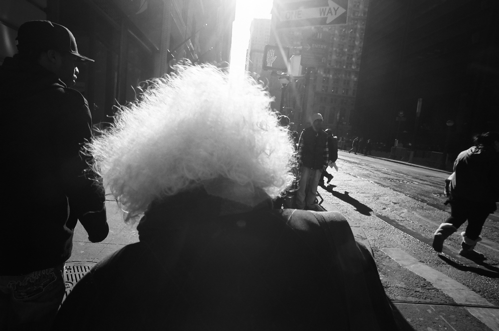 "Cheryl Dunn,  Broadway White Hair,  2012, Silver gelatin print, Edition 10, 16"" x 24"""
