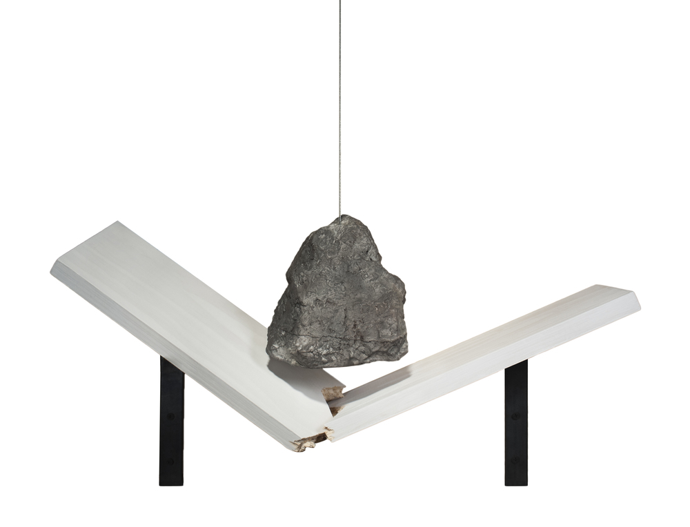 "Rock and Shelf Converge, 2014-5, Hydrocal, pastel, graphite, steel, wood, 24"" x 5"" x 8"""