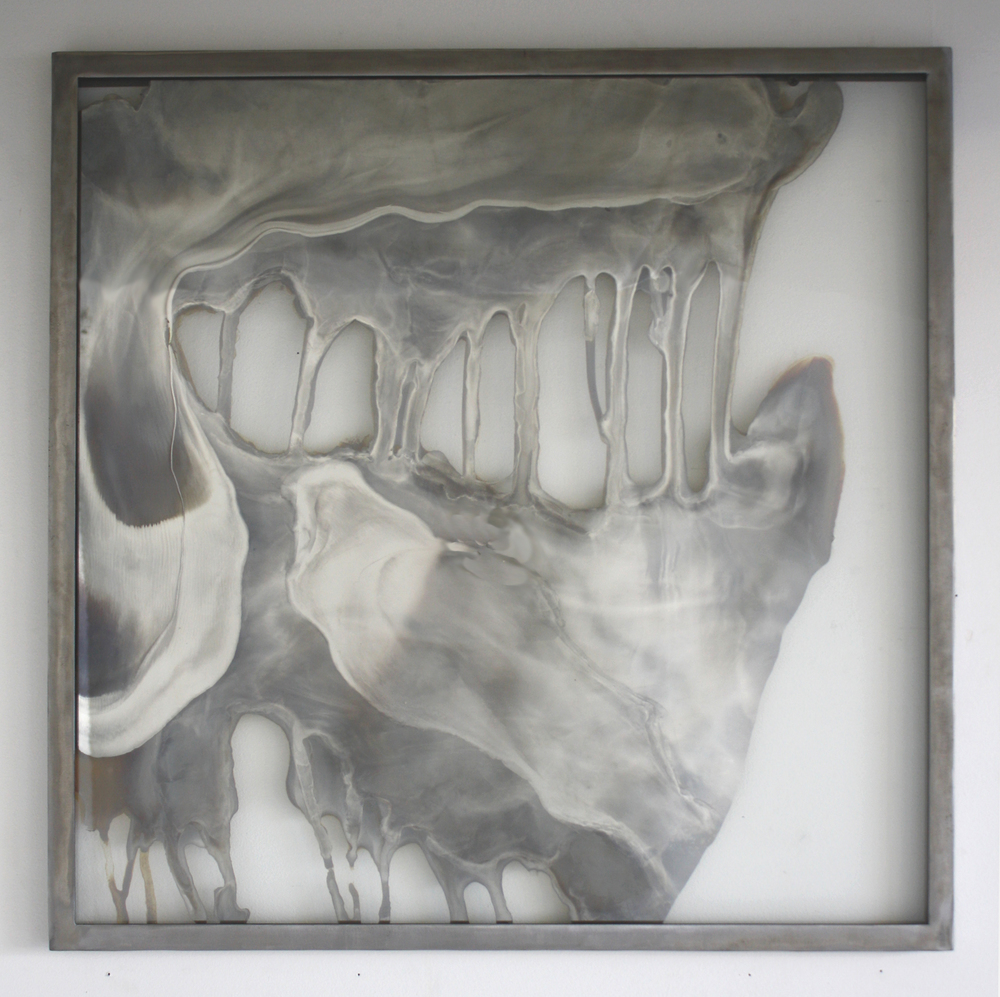 "Laura Sallade, Thin Heat: study no. 5, 2015, Silver nitrate on glass, steel frame, 24 1/2"" x 24 1/2"""