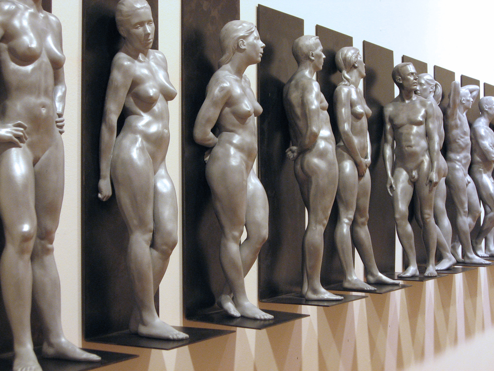 "Christopher Smith, Perfectly Naked, cast in aluminum and filled with resin, each 20"" x 7"" x 5"""