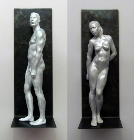 "Christopher Smith, Perfectly Naked #9, #10, cast in aluminum and filled with resin, 20"" x 7"" x 5"""