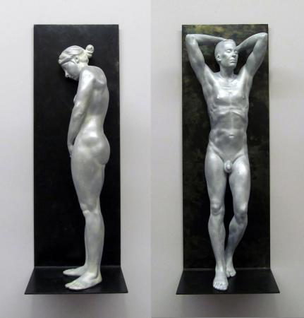 "Christopher Smith,  Perfectly Naked #13, #14,  cast in aluminum and filled with resin, 20"" x 7"" x 5"""