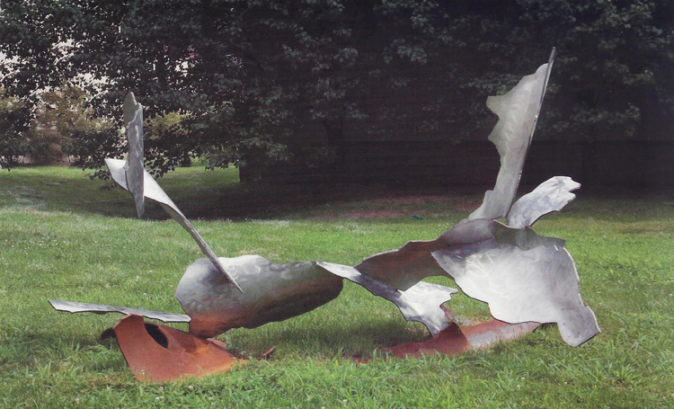 "Joe Mooney,  Phoenix Struggle,  2006, Stainless steel and steel, 62"" x 112"" x 72"".  Seraphin Gallery, Philadelphia, PA"