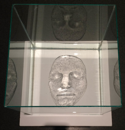 "Erin Murdock, Self Portrait, 2015, cast glass, glass box, water, 9"" x 9"" x 9"""