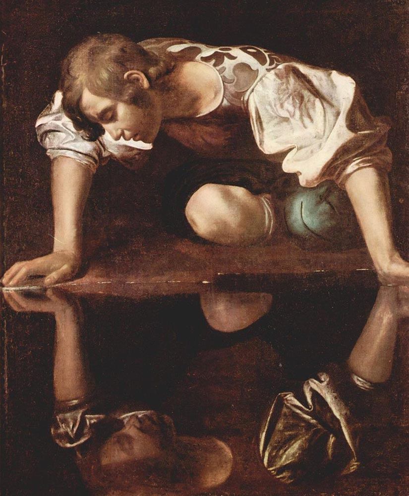 "Caravaggio, Narcissus (Narciso), 1597-1599, Oil on canvas, 43"" x 36"", Galleria Nazionale d'Arte Antica, Rome, Italy"