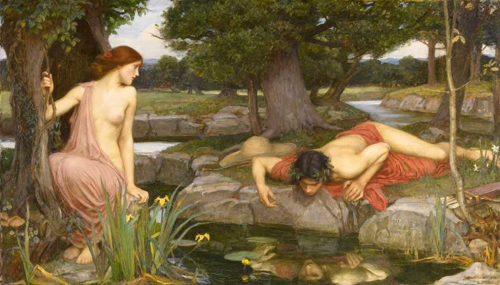 "John William Waterhouse, Echo and Narcissus, 1903, Oil on canvas, 43"" x 74"", Walker Art Gallery, Liverpool, U.K."