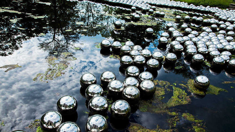 Yayoi Kusama, Narcissus Garden (2016), Glass House, New Canaan, CT, USA.  *First created in 1966 for the 33rd Venice Biennale.