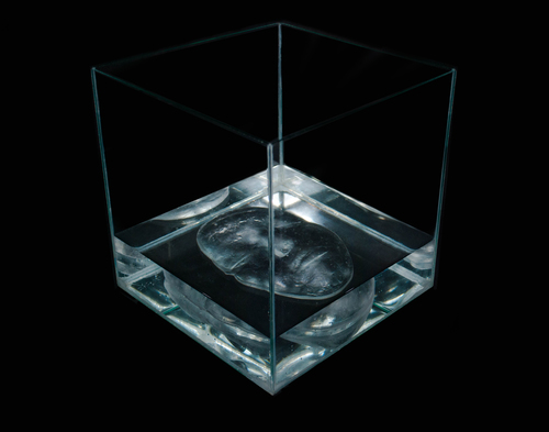 "Erin Murdock,  Self Portrait , 2015, cast glass, glass box, water, 9"" x 9"" x 9"""