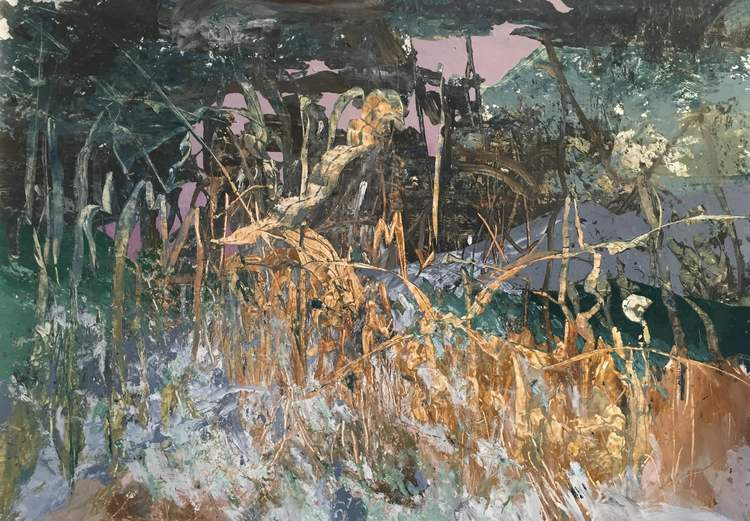 "Madeline Peckenpaugh, For A Trail, 2016, Oil on canvas, 46"" x 66"""