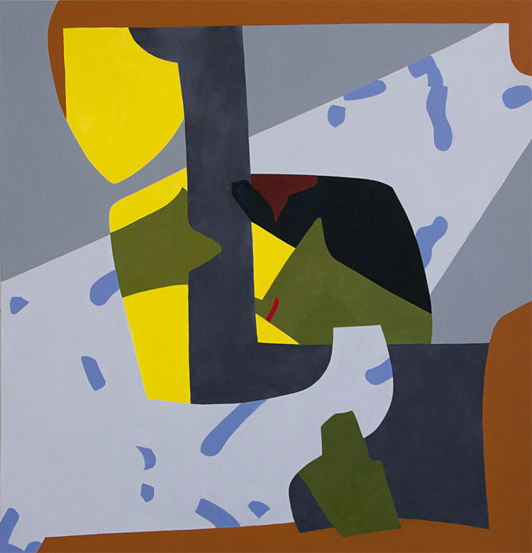 "James Inscho,  Racket,   2013, Oil on canvas, 63"" x 60""."