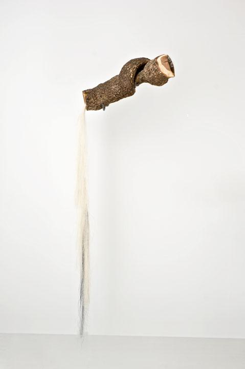 "Millicent Young, Song, 2010, Cherry wood, horse hair, 68"" x 25"" x 4"""