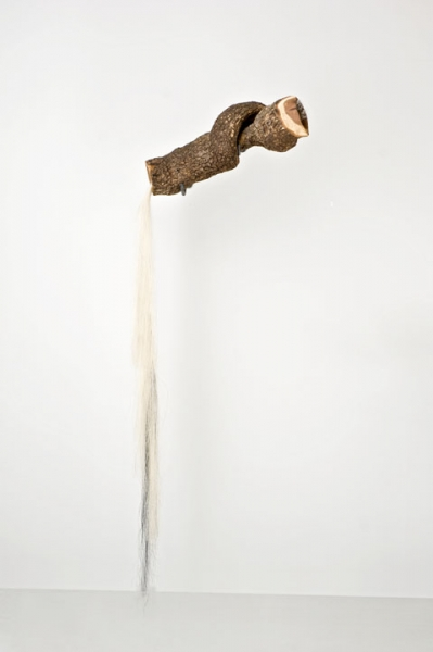 "Millicent Young, Song, Cherry wood, Horse hair, 68""x 25""x 4"" Seraphin Gallery, Philadelphia, PA"