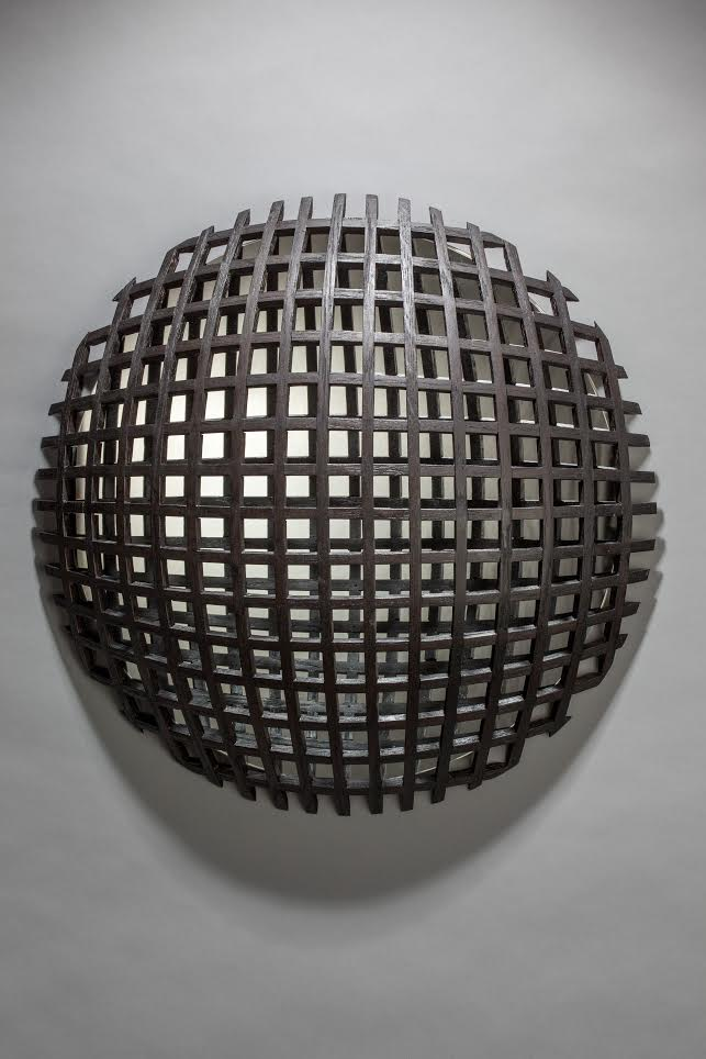 "Don Miller, Black Grid, 2016, Oak, Glass, 22"" x 22"" x 8"""