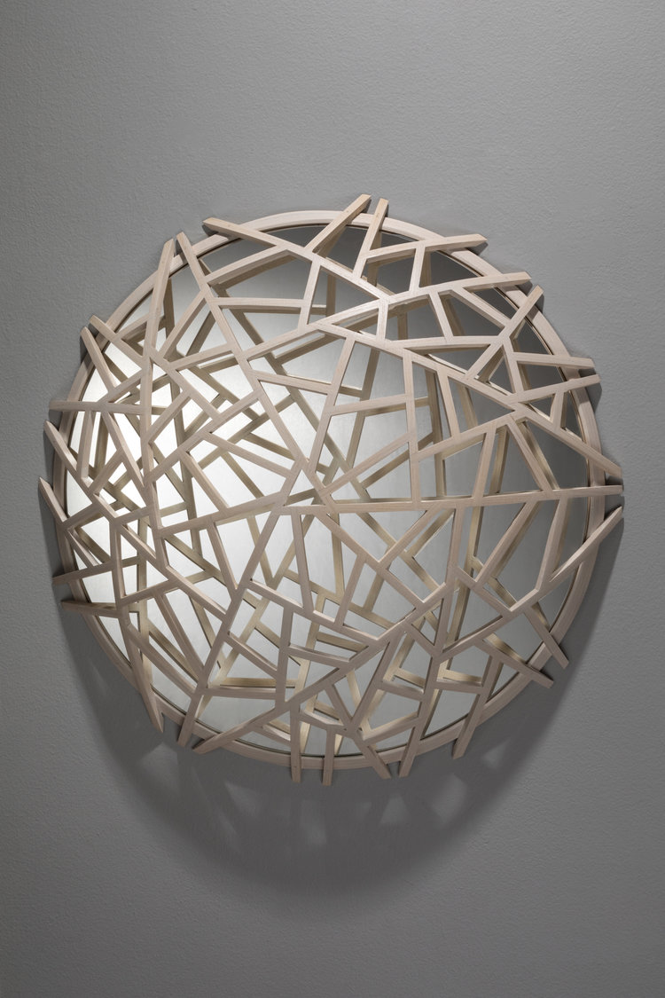 "Don Miller,  White Ice Crack , 2016, Ash, Glass, 22"" x 22"" x 8"""