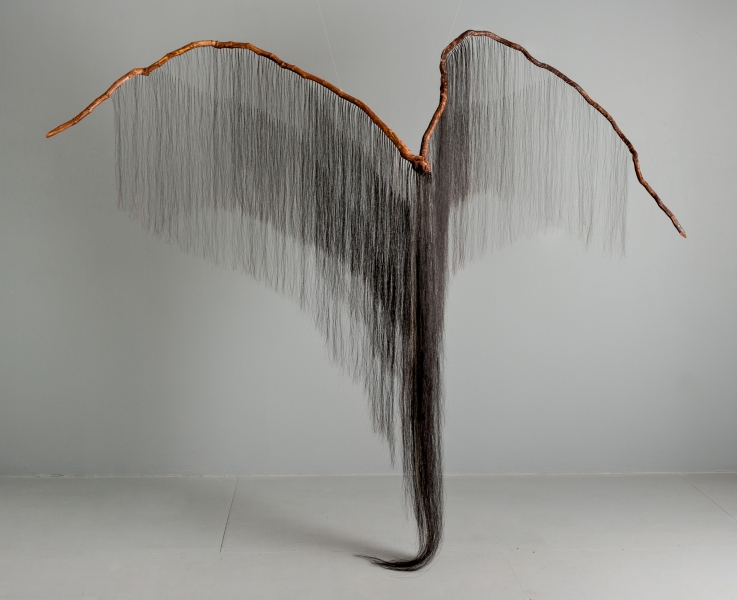 "Millicent Young, Predator, 2013-2014, Grapevine, horse hair, 90"" x 118"" x 40"""