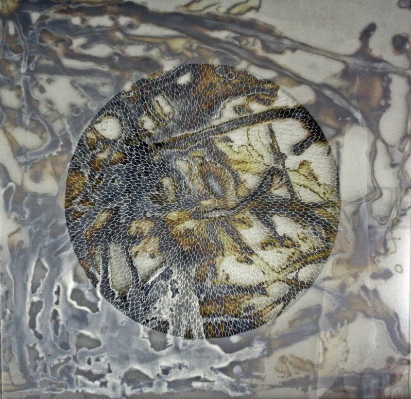 "Laura Sallade, Untitled, 2017, Hand cut mylar over silver nitrate on glass, 30"" x 32"""