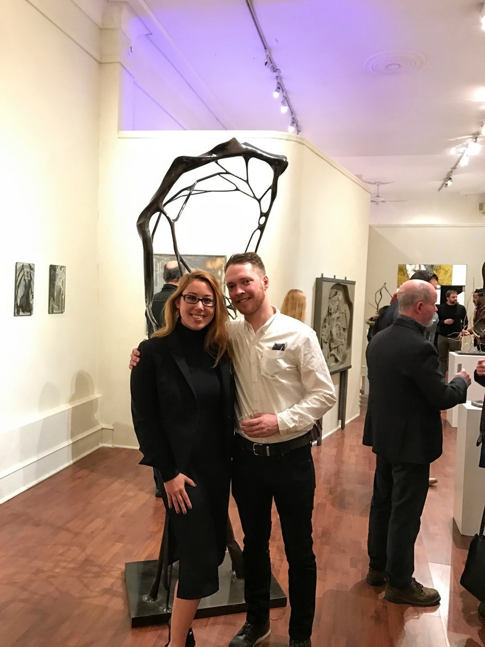 Associate Director, Alyssa Laverda, with artist Geoffrey Dubinsky  Seraphin Gallery, Philadelphia, PA
