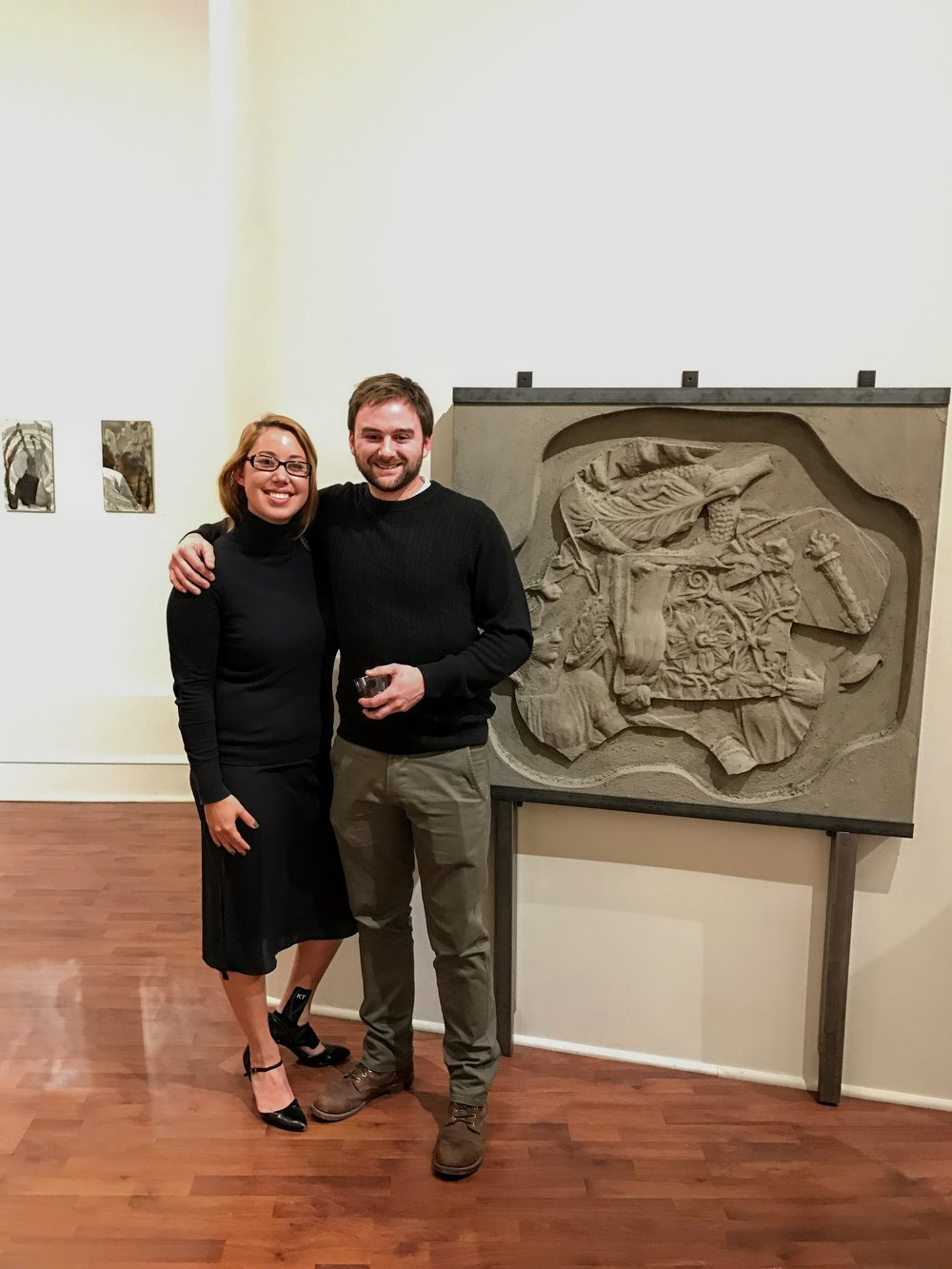 Associate Director, Alyssa Laverda, with artist, Phillip Scarpone  Seraphin Gallery, Philadelphia, PA