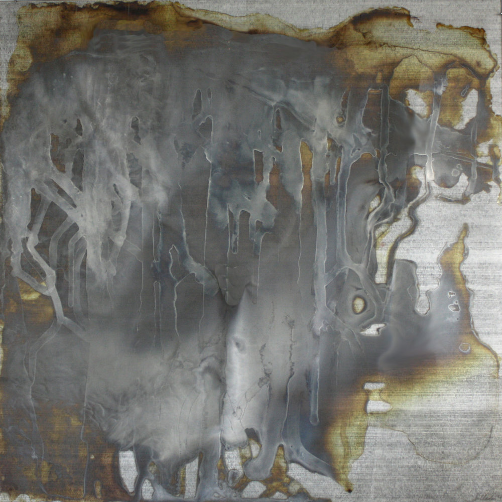 "Laura Sallade, Wash, study no. 1, 2017, Silver on glass over graphite on mylar, 30"" x 30"""