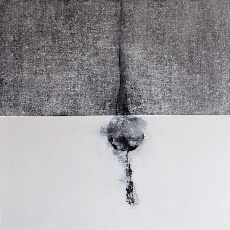 "Andrew Wapinski,  Untitled,  2014, Pigmented ice, acrylic, ink, and graphite on linen mounted panel, 65"" x 65"" x 2.5"""