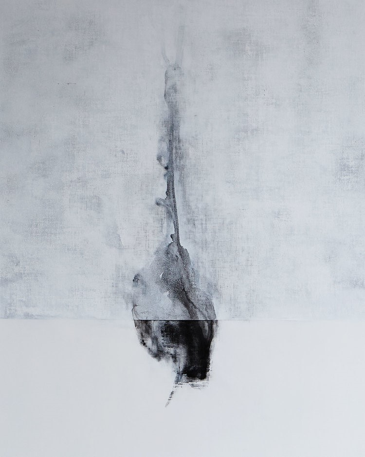 "Andrew Wapinski, Untitled, 2014, Pigmented ice, acrylic, ink and graphite on linen mounted panel, 52"" x 45"" x 2.25"""