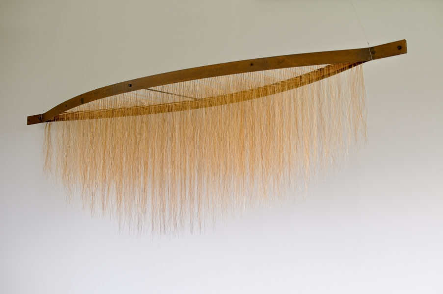 "Millicent Young, Cinnamon Vessel, 2009, Steel, wood, horse hair, 93"" x 26"" x 22"""