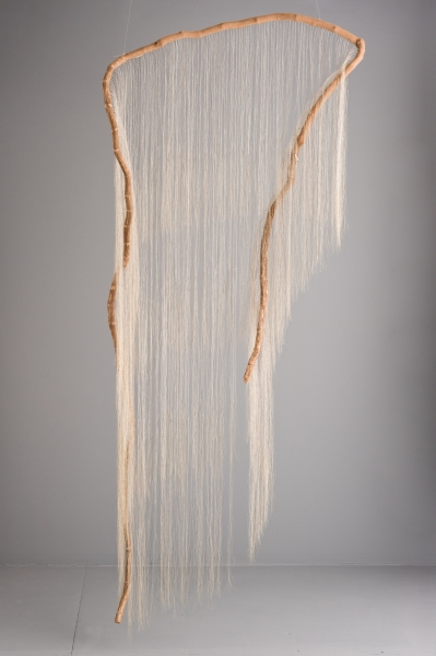 "Millicent Young,  Garment,  2013-2014, Grapevine, horse hair, 44"" x 97"" x 12"""