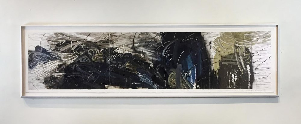 "Untitled,  1988, Acrylic and pencil on paper, 26"" x 91"""