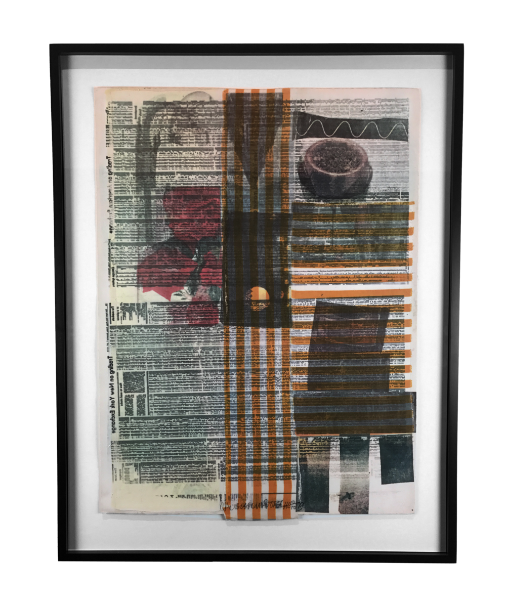 "Robert Rauschenberg,  One More and We'll Be Almost Half Way There,  1979, Solvent transfer with fabric collage, 31"" x 22"" 7/8"""