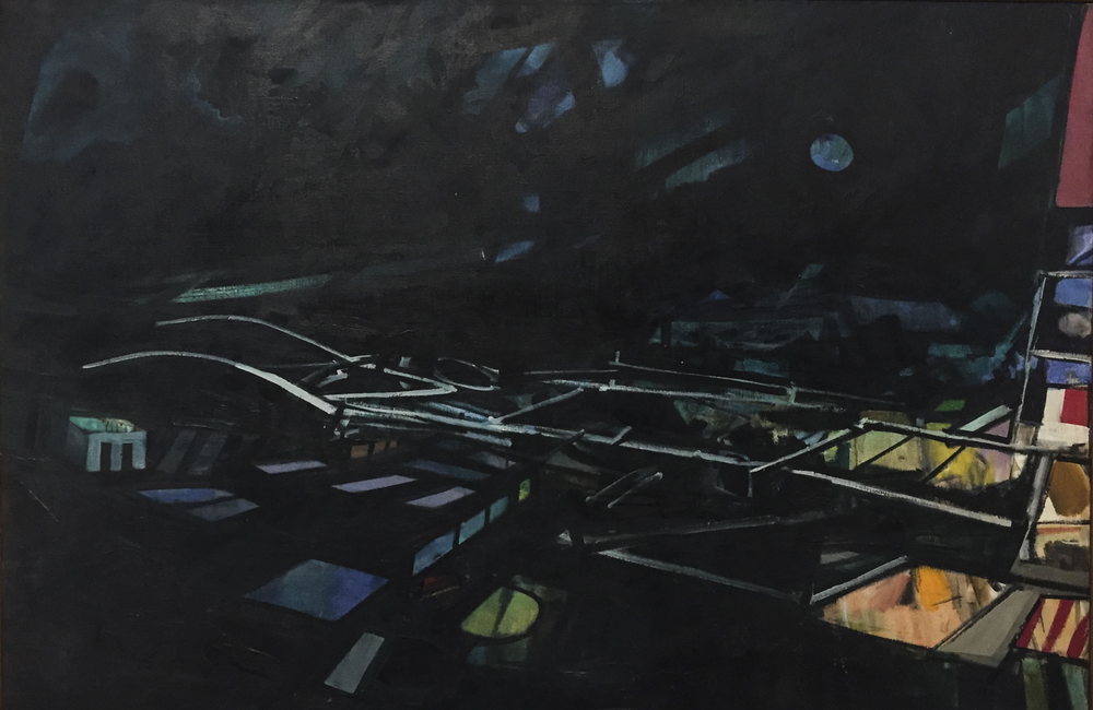 "John Hultberg,  Green Night Destruction,  1963, Oil on canvas, 40"" x 59""."