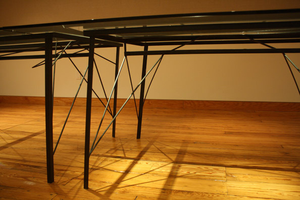 Laura Sallade, 2013, Steel frame with glass, divisible to three tables