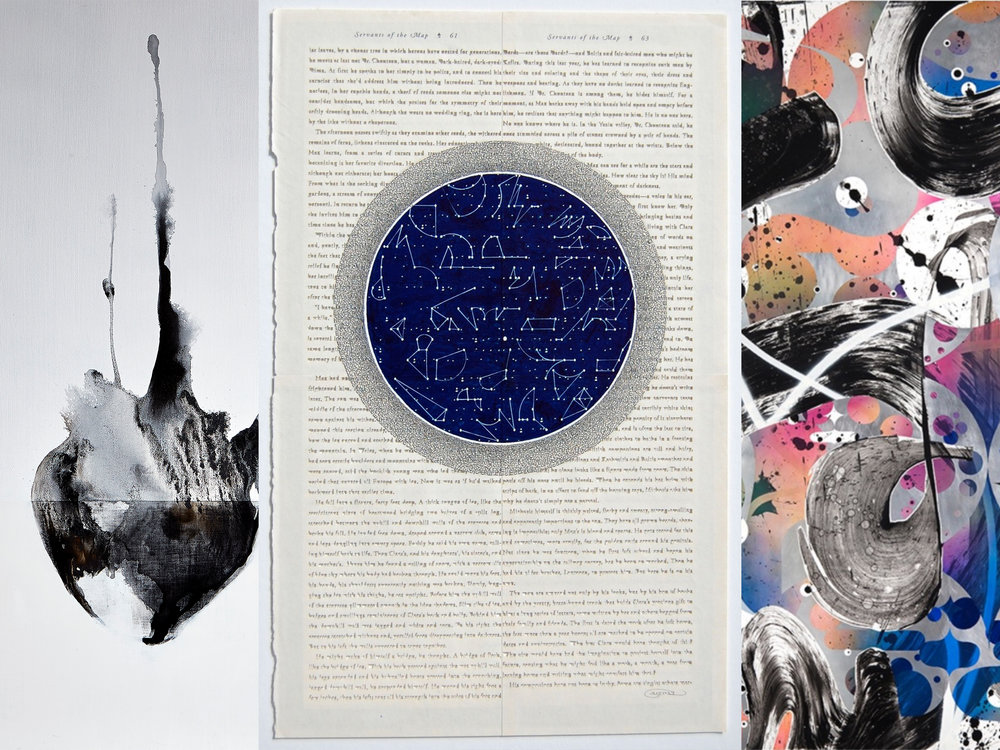 "Left: Andrew Wapinski,  Untitled , 2016, Pigmented ice, acrylic, ink & graphite on linen mounted panel, 75"" x 65"" x 2 1/2"" Center: Youdhi Maharjan,  Servants of the Map , 2017, Acrylic and cutout text collage on reclaimed book pages, 26 1/4"" x 20"" Right: Jeff Cylkowski,  The Manipulation of Authenticity 3 , 2016, Acrylic and automotive paint on wood, 60"" x 60"""
