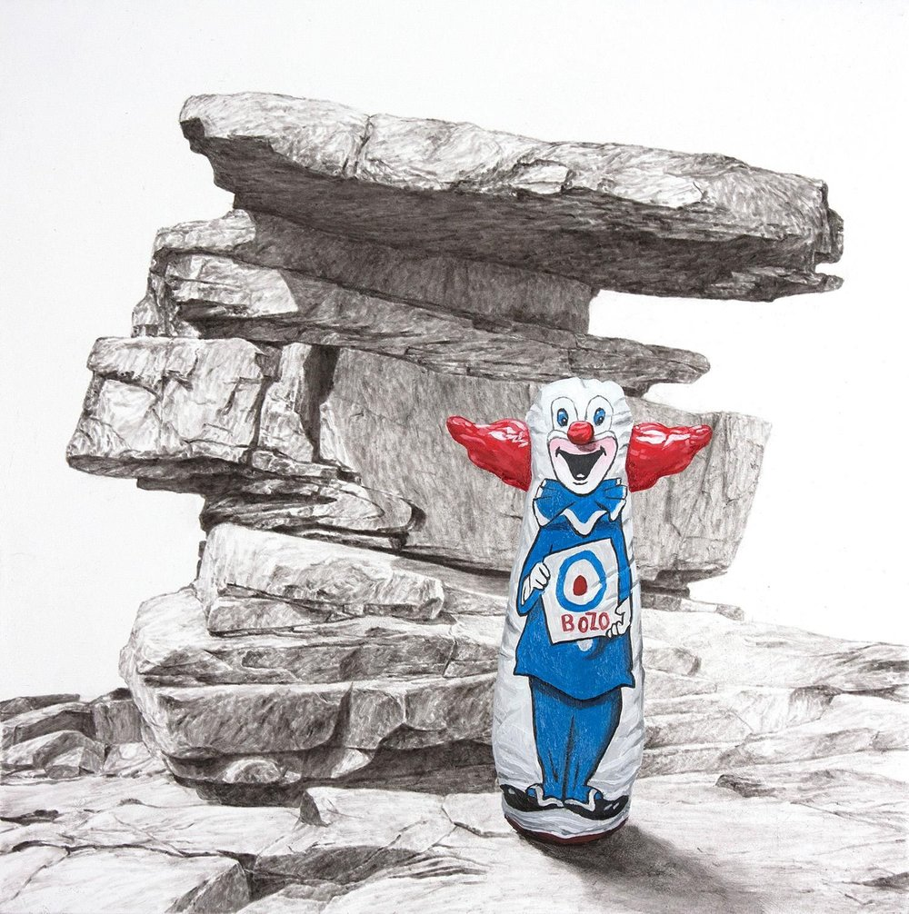 "Phillip Adams,  Bozo , 2018, Charcoal and acrylic on panel, 10"" x 10"""
