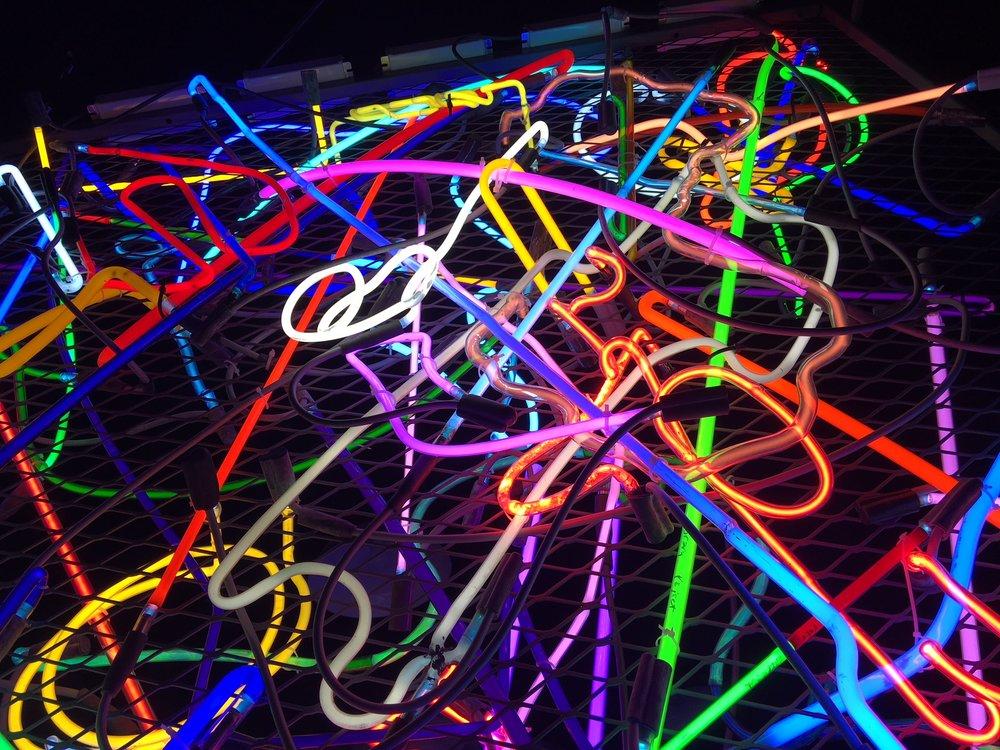 "Craig Kraft, Scrambled Neons , 2017, Neon, 60"" x 66"" x 14"""