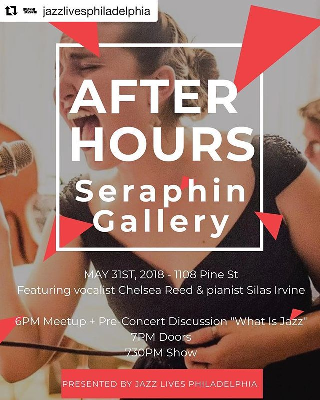See you next week for this fabulous event!  #Repost @jazzlivesphiladelphia ・・・ See you next Thursday at the Seraphin Gallery in Center City! Admission to the Meetup is free and tickets to the performance are $20!⠀ ⠀ Meetup/Pre-Concert Discussion: 6-7pm⠀ Performance: 7:30-9pm⠀ ⠀ See you there!