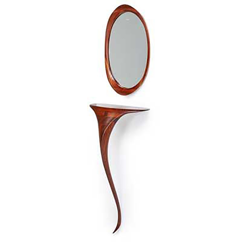 Custom-designed sculptural console table and mirror