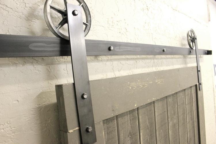 vintage flat sliding barn door hardware raw steel kit - Vintage Flat Sliding Barn Door Hardware Raw Steel Kit — ABA Hardware
