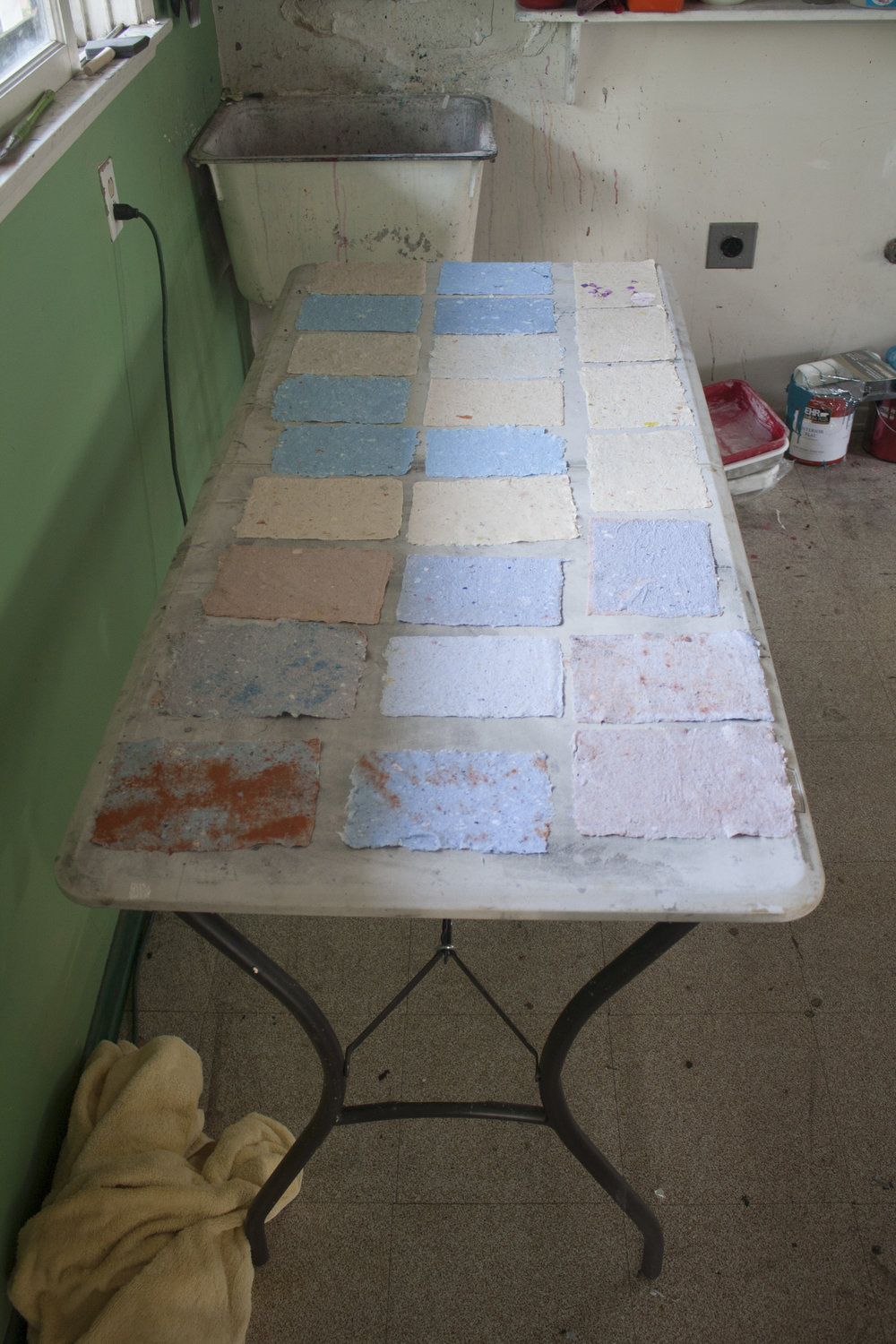 A Selection Of Handmade Papers from a Papermaking Workshop with Zeina Baltagi - Spring 2014